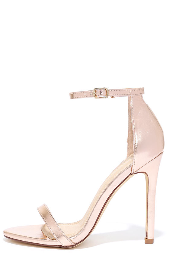 7928b3065897 Sexy Rose Gold Heels - High Heel Sandals - Metallic Heels -  28.00