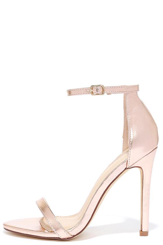 Sexy Rose Gold Heels - High Heel Sandals - Metallic Heels - $28.00