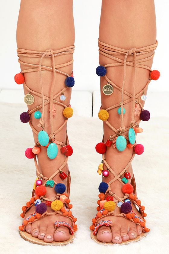 8f3de70bfae75 Mia Reanna Natural Leather Pompom Tall Lace-Up Sandals