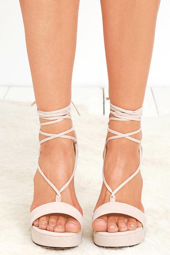 0a06070a3d8 Sexy Nude Heels - Platform Heels - Lace-Up Heels - Vegan Suede Heels ...
