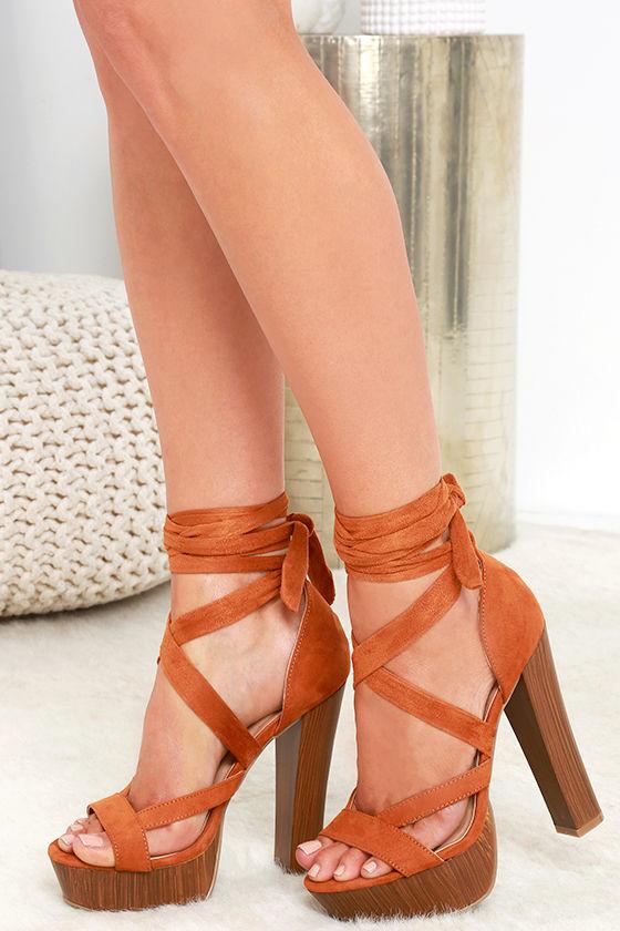 f865291336b Fun Brown Heels - Platform Heels - Vegan Suede Heels - Lace-Up Heels -   31.00