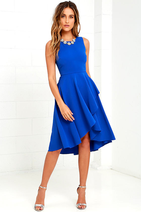 Cute Royal Blue Dress - High Low Dress - Fit-and-Flare Dress - $59.00