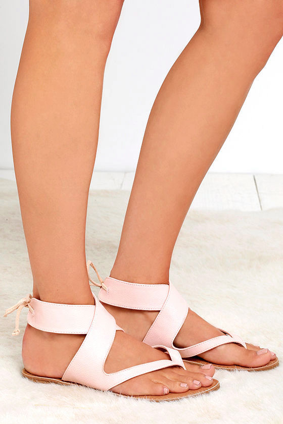 Bring It Around Nude Ankle Wrap Thong Sandals Image