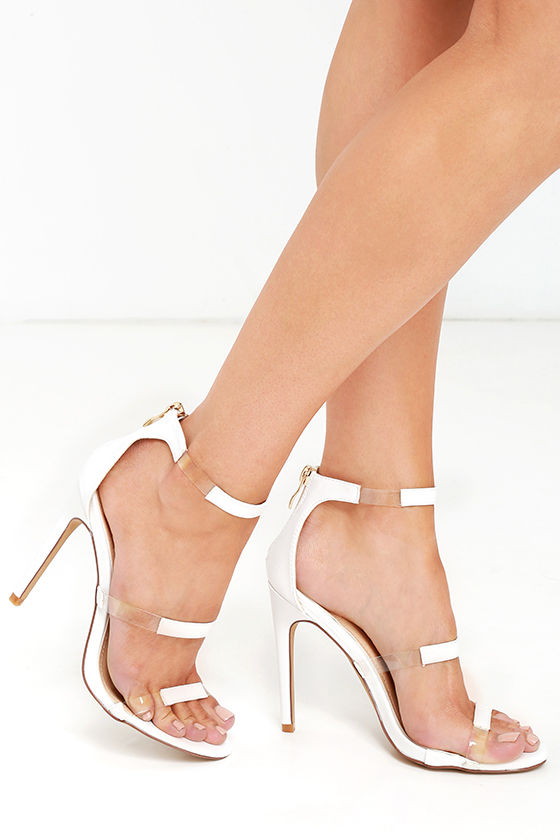 48f167c5d34 Sexy White Heels - Vegan Leather Heels - Ankle Strap Heels - Lucite Heels -   29.00