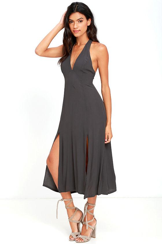 Pretty Charcoal Grey Dress - Midi Dress - Halter Dress - $49.00