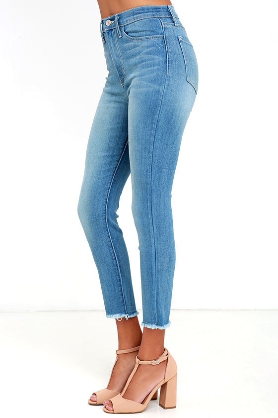 Light Wash Jeans - High-Waisted Jeans - Cropped Jeans - $69.00