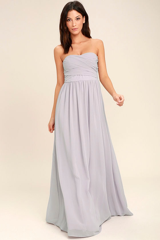 All Afloat Light Grey Strapless Maxi Dress 1