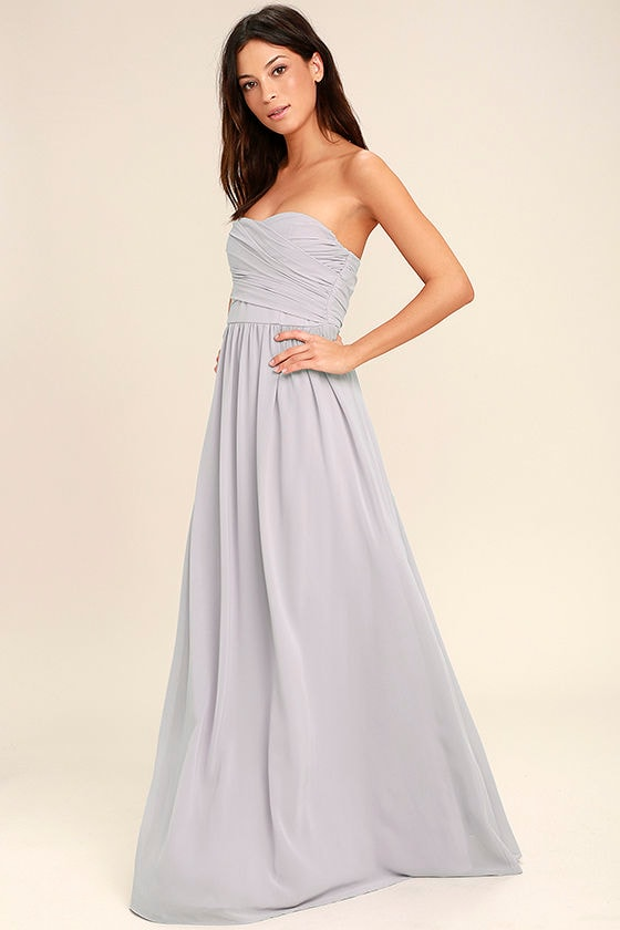 Lovely Maxi Dress - Light Grey Dress - Strapless Dress ...
