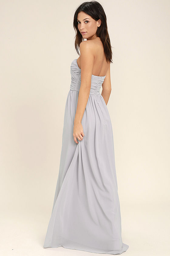 All Afloat Light Grey Strapless Maxi Dress 3