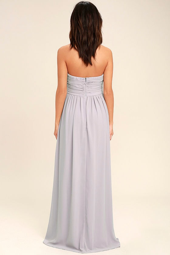 All Afloat Light Grey Strapless Maxi Dress 4