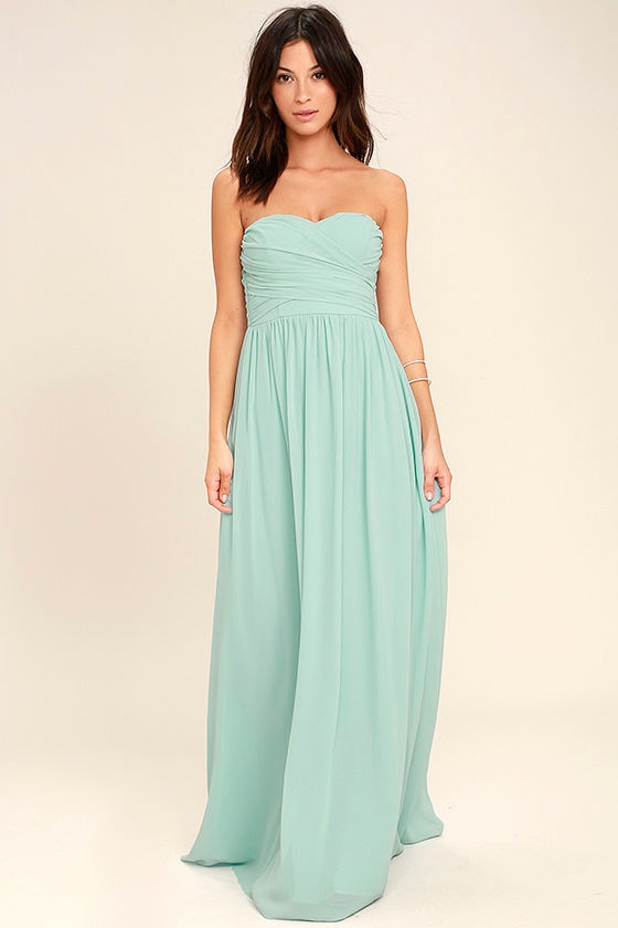 All Afloat Mint Blue Strapless Maxi Dress 1