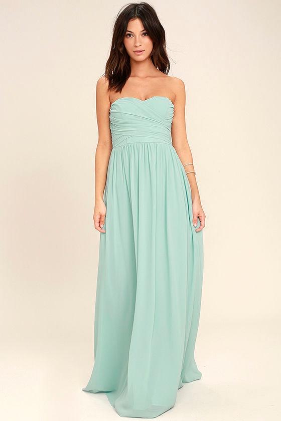 All Afloat Mint Blue Strapless Maxi Dress 1
