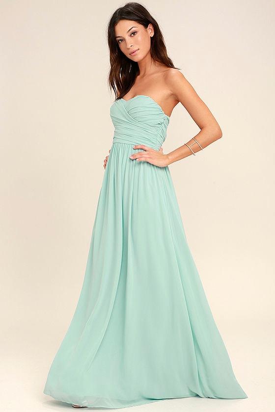 All Afloat Mint Blue Strapless Maxi Dress 2