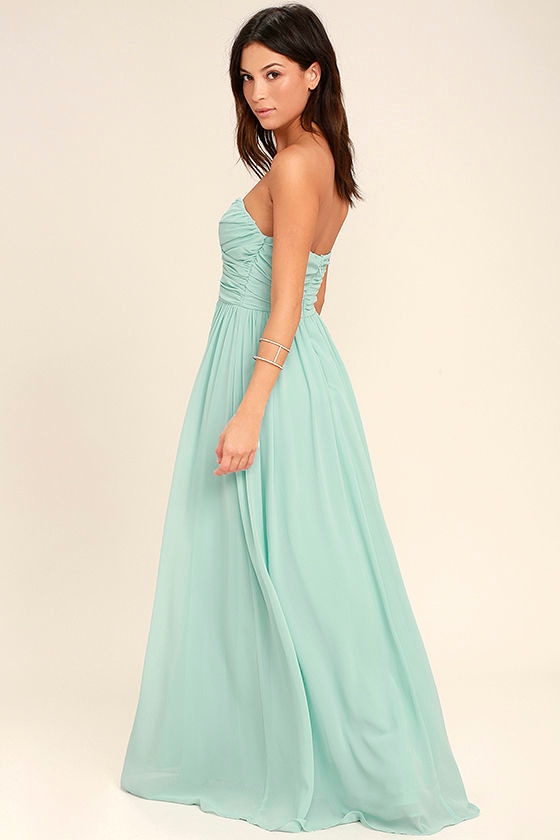All Afloat Mint Blue Strapless Maxi Dress 3