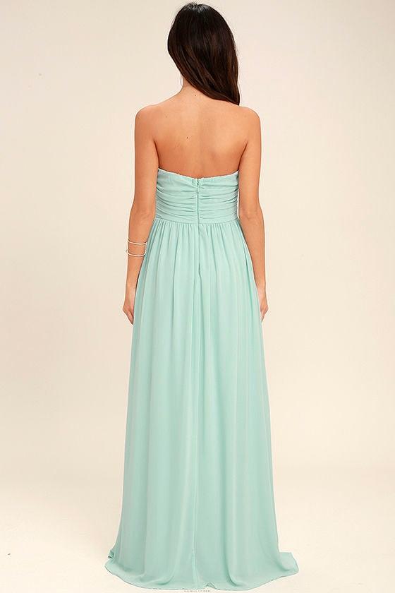 All Afloat Mint Blue Strapless Maxi Dress 4