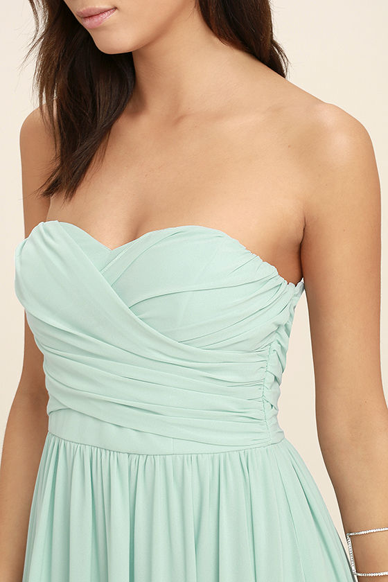 All Afloat Mint Blue Strapless Maxi Dress 5