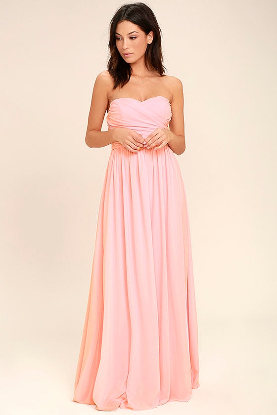 Baby pink strapless maxi dress
