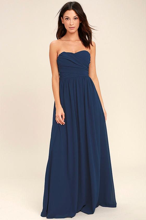 Lovely Maxi Dress - Navy Blue Dress - Strapless Dress - $84.00