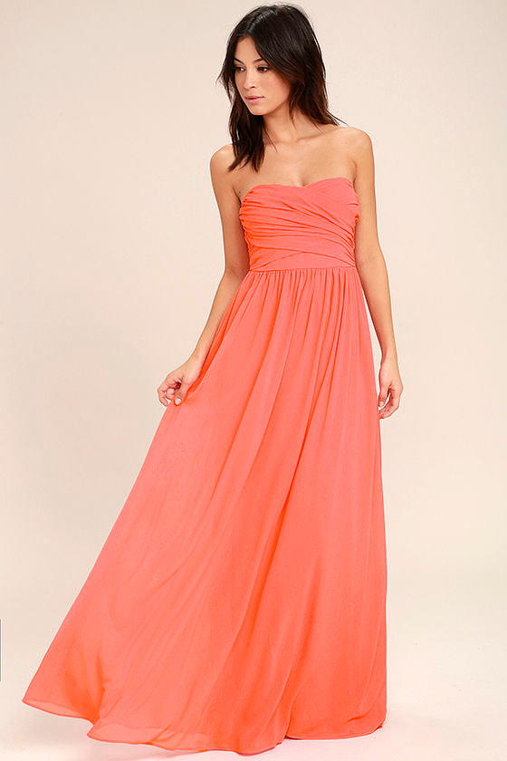 Lovely Maxi Dress Coral Pink Dress Strapless Dress
