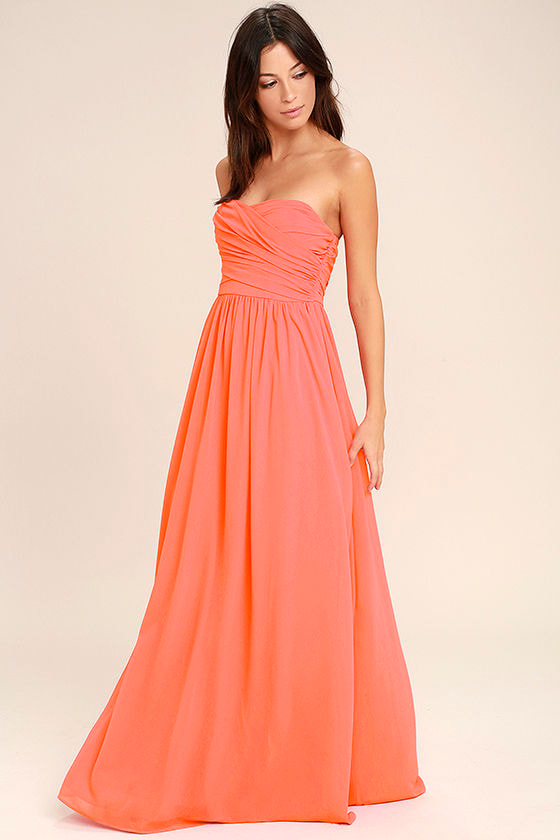 Lovely Maxi Dress - Coral Pink Dress - Strapless Dress - $84.00