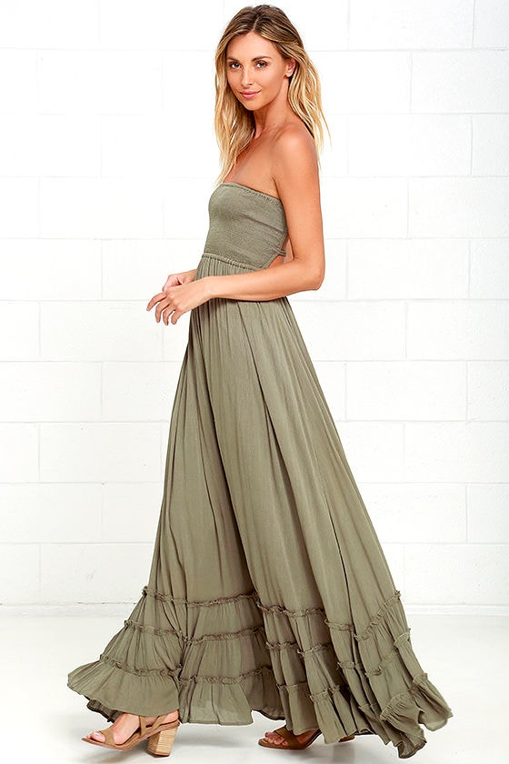 72a92bb82 Lovely Olive Green Dress - Strapless Dress - Maxi Dress -  78.00