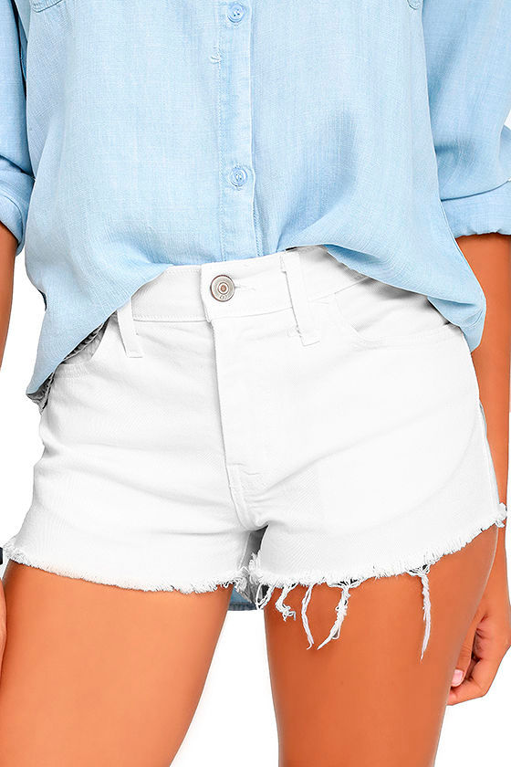 Off-Road White Cutoff Denim Shorts 1