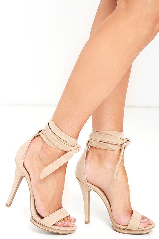 e5796fcda8 Lace-Up Heels - Suede Heels - Platform Heels - Nude Heels - $27.00