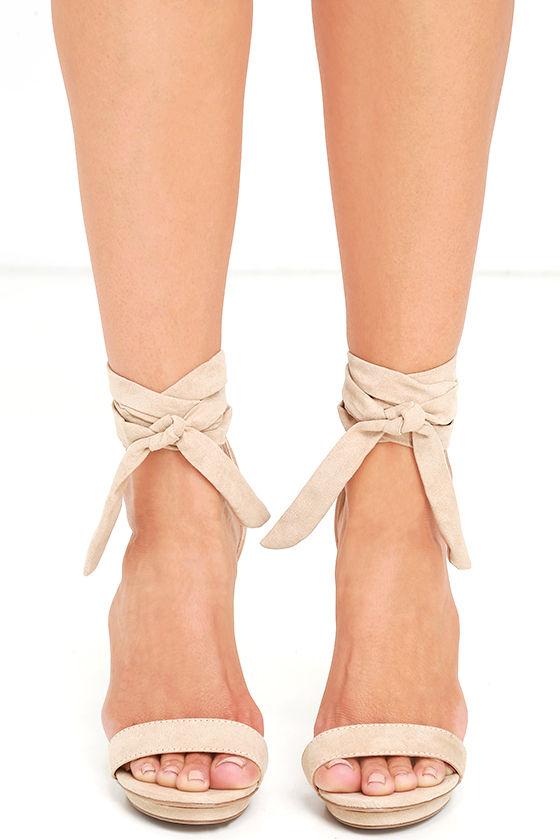 Lace-Up Heels - Suede Heels - Platform Heels - Nude Heels - $27.00