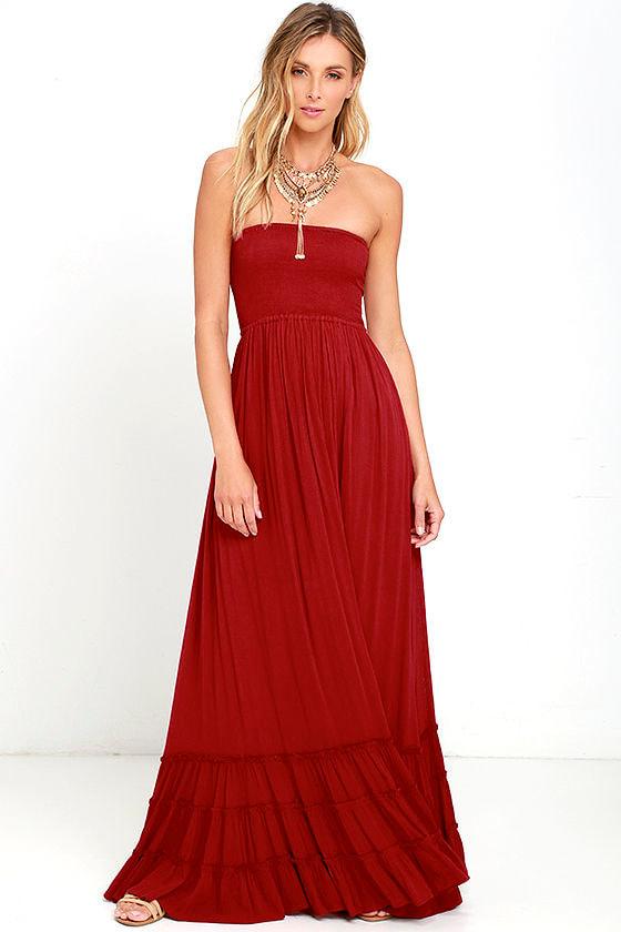 f3ea2ffc15f Lovely Wine Red Dress - Strapless Dress - Maxi Dress -  78.00