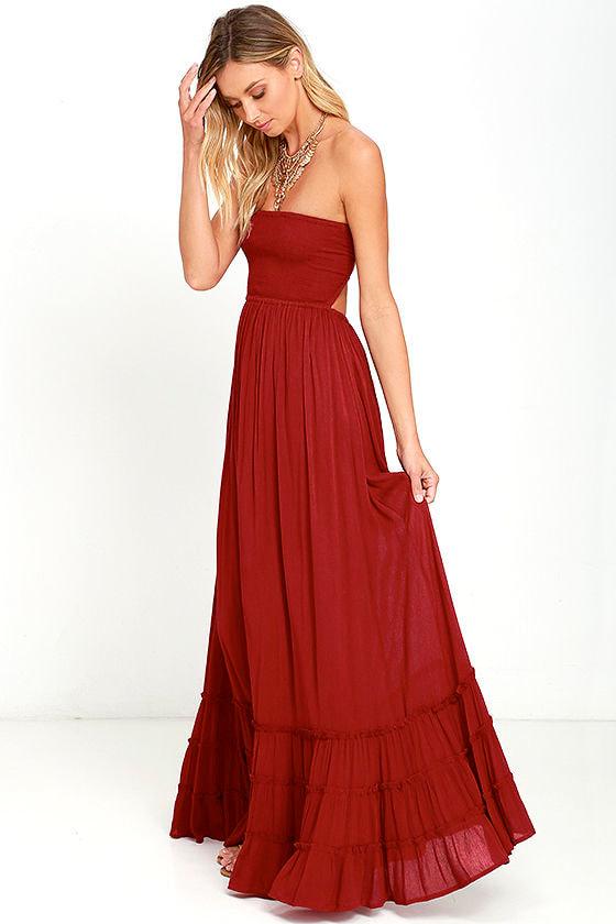 cc4352da797e Lovely Wine Red Dress - Strapless Dress - Maxi Dress -  78.00