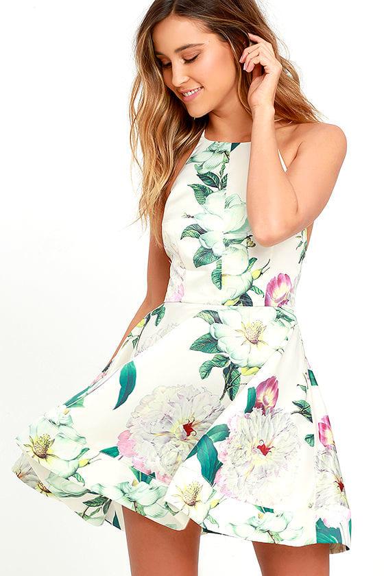 Pretty Floral Print Dress - Cream Dress - Skater Dress - $64.00
