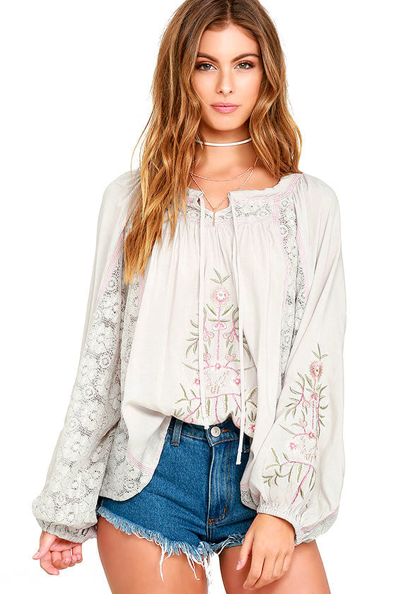 0632992cf87 Boho Top - Light Grey Top - Embroidered Top - Lace Top - Long Sleeve Top -   79.00