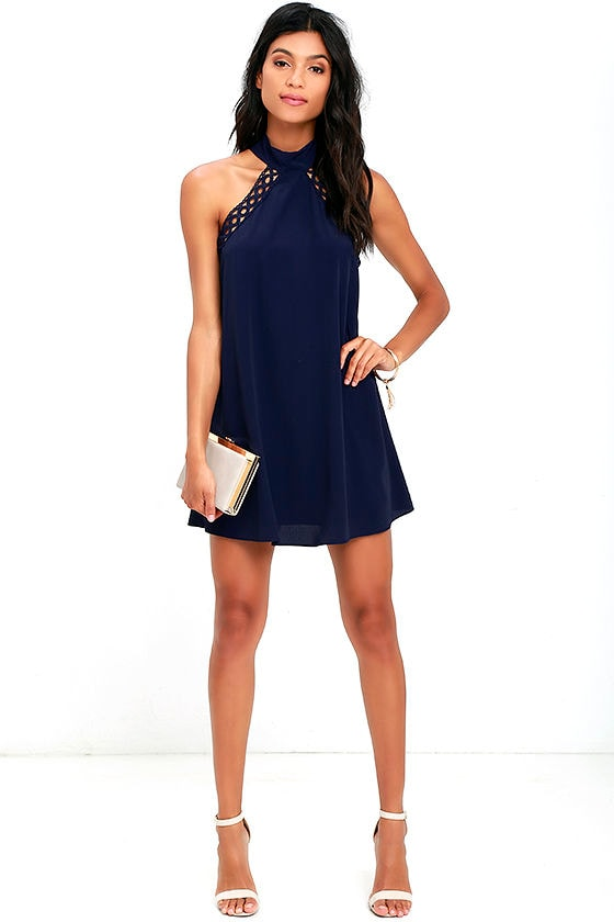 Any Sway, Shape, or Form Navy Blue Lace Halter Dress 2