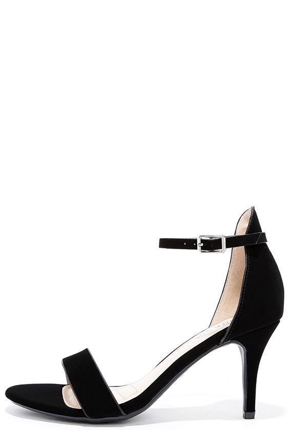 8a6b363272 Nubuck Heels - Black Heels - Ankle Strap Heels - $27.00
