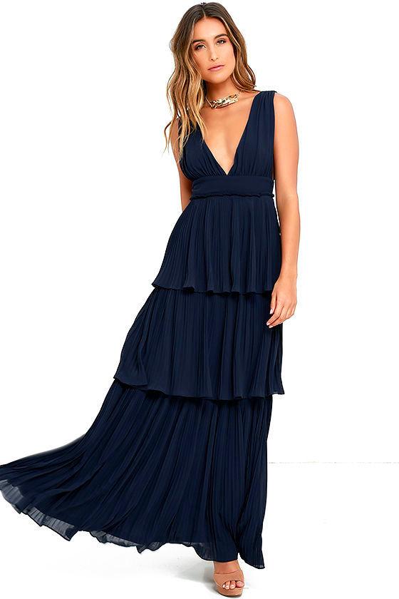 Stunning Navy Blue Dress - Pleated Maxi Dress - Tiered Dress - $78.00