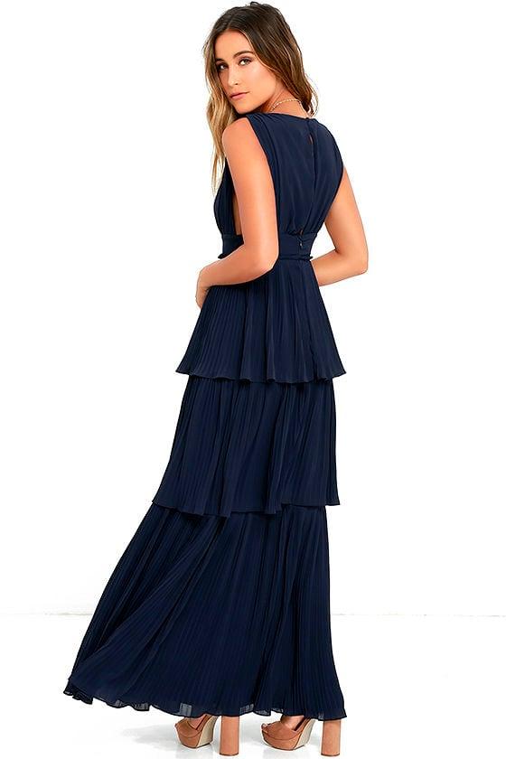 d4affa29643 Stunning Navy Blue Dress - Pleated Maxi Dress - Tiered .