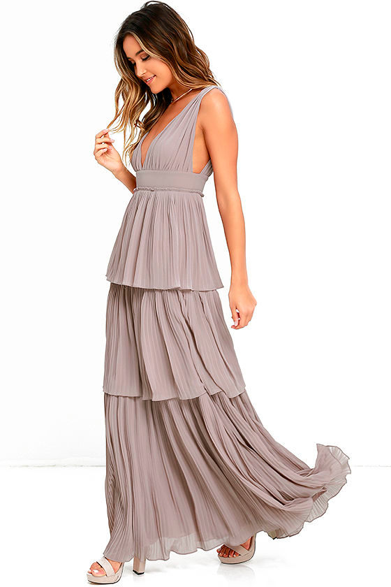 89d808741ae Stunning Taupe Dress - Pleated Maxi Dress - Tiered Dress -  78.00