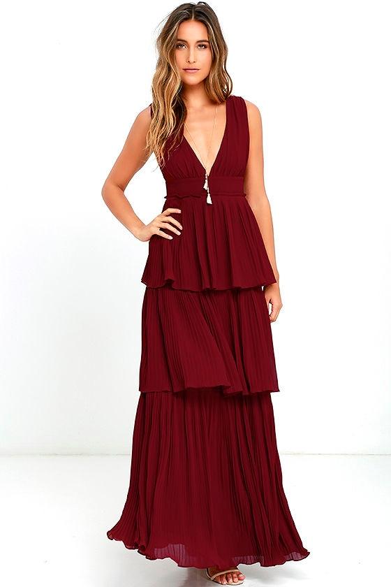Stunning Wine Red Dress - Pleated Maxi Dress - Tiered Dress - $78.00