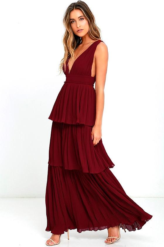 4b32a9d2087 Stunning Wine Red Dress - Pleated Maxi Dress - Tiered Dress -  78.00