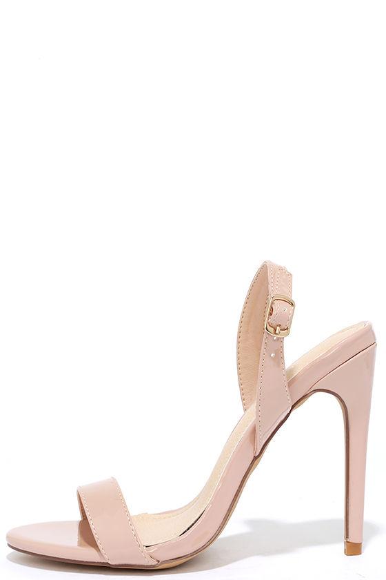 Chic Nude Heels - Patent Heels - Slingback Heels - $28.00