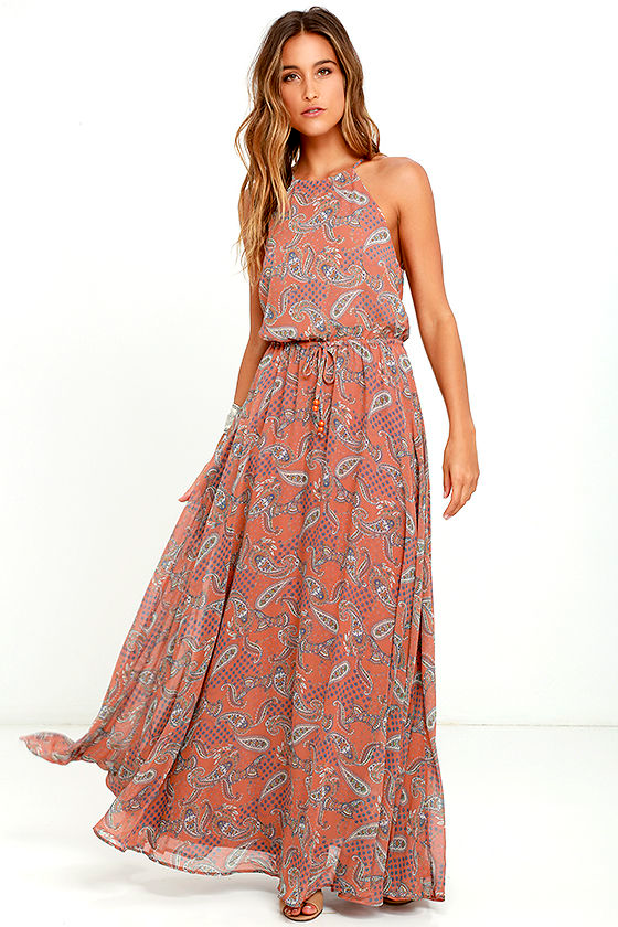 7c3dae79 Lovely Rust Orange Dress - Paisley Print Dress - Maxi Dress - $89.00