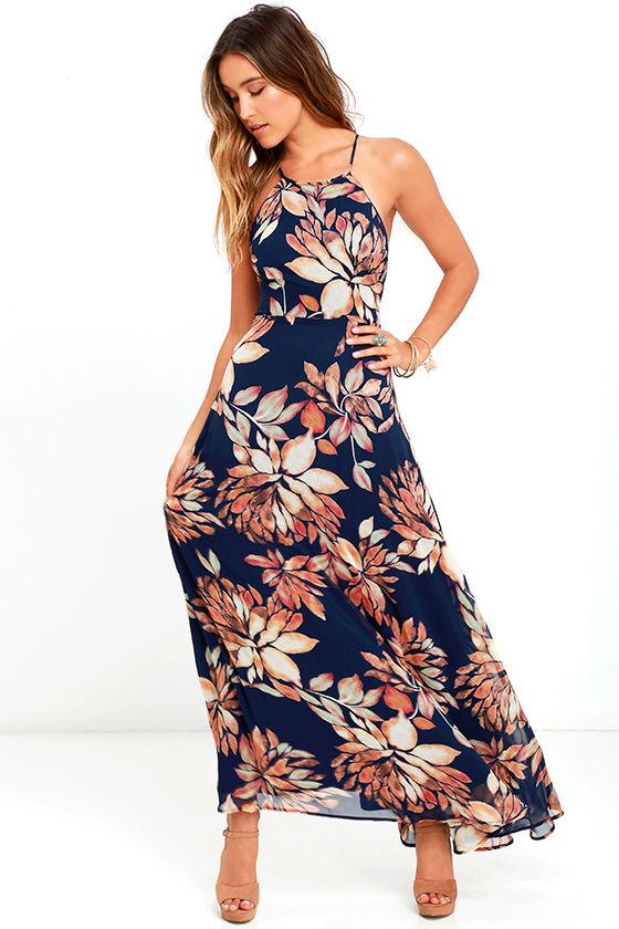 Lovely Navy Blue Floral Print Dress - Maxi Dress - Lace-Up Dress ...
