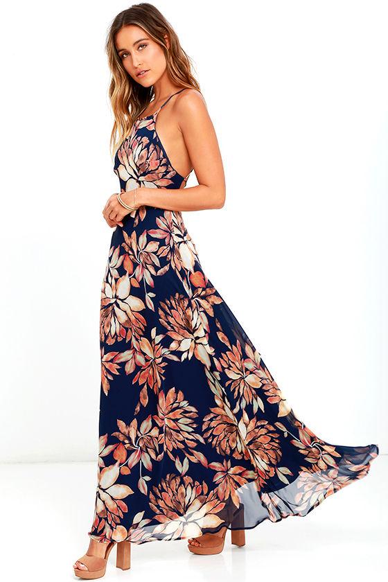 Adventure Seeker Navy Blue Floral Print Maxi Dress 2