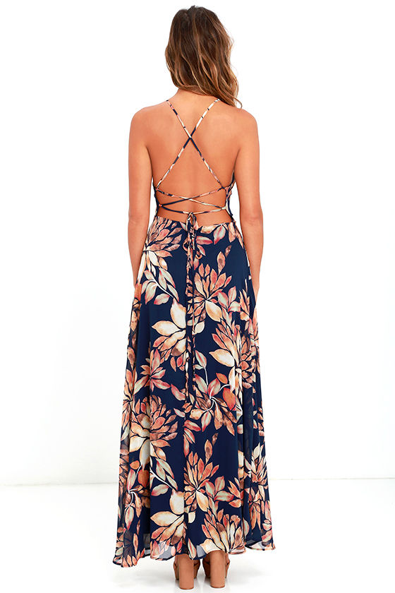 Adventure Seeker Navy Blue Floral Print Maxi Dress 4