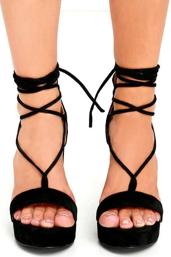 bae48c5a2ae8 Sexy Black Heels - Platform Heels - Lace-Up Heels - Vegan Suede ...