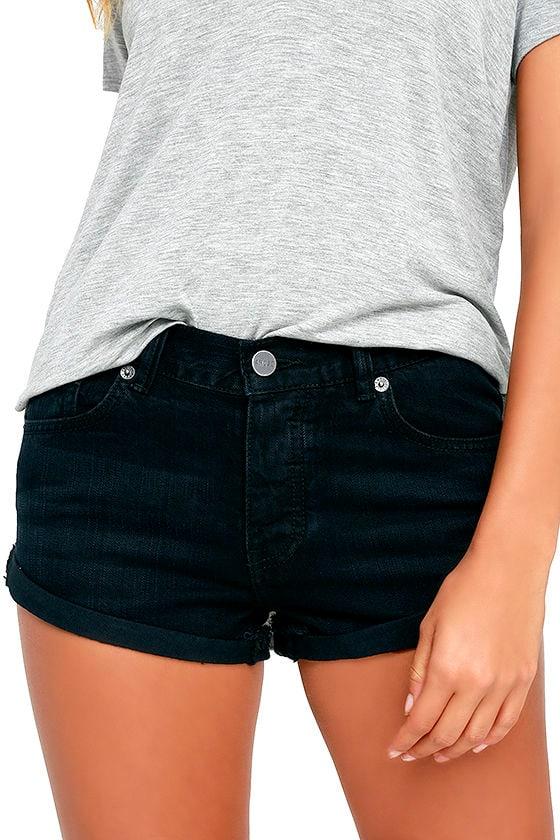 Amuse Society Crossroads Washed Black Denim Shorts 1