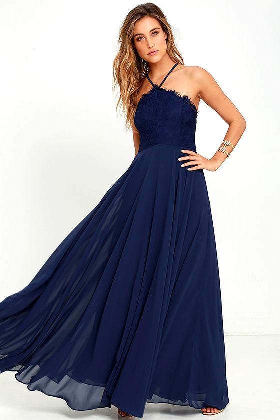 Stunning Navy Blue Dress - Maxi Dress - Halter Dress - Lace Dress ...