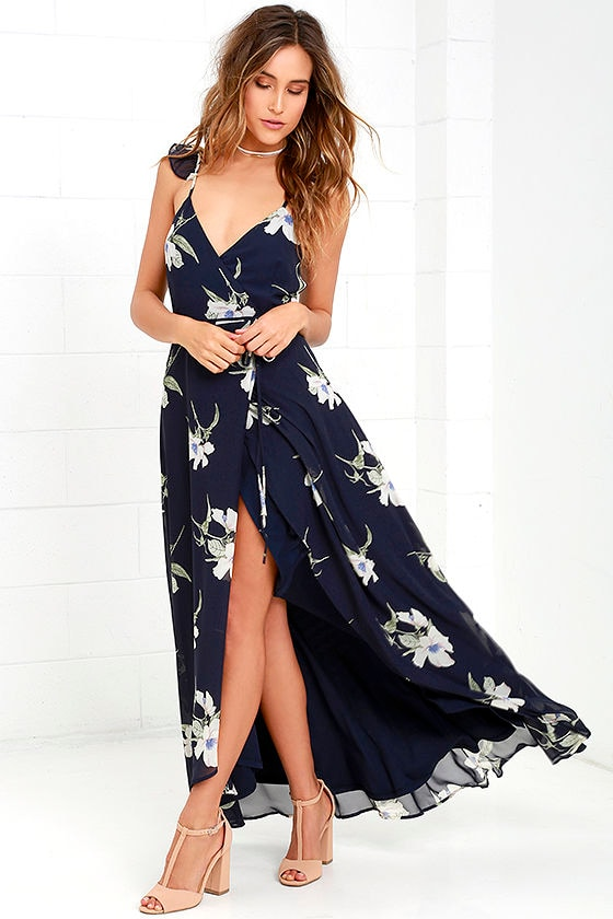 All Mine Navy Blue Floral Print High-Low Wrap Dress 3