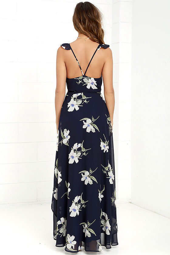 All Mine Navy Blue Floral Print High-Low Wrap Dress 5