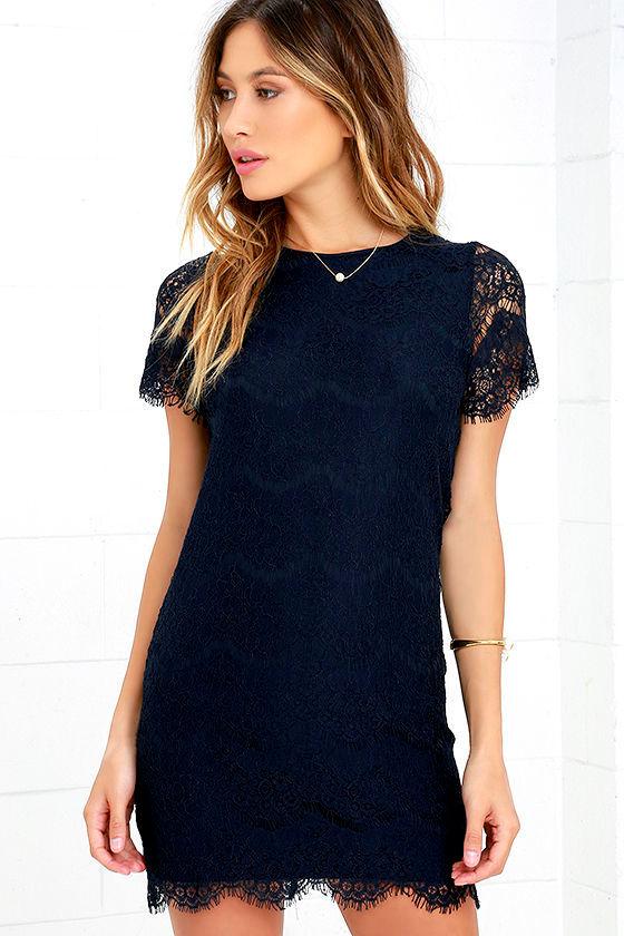 Pretty Lace Dress - Navy Blue Dress - Shift Dress - $49.00